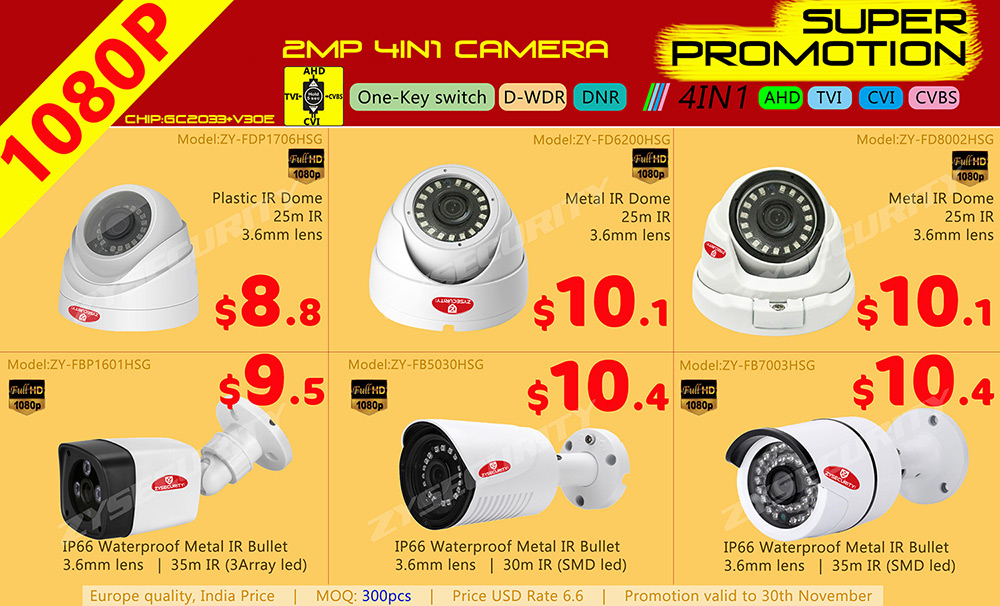 2mp 1080P 4IN1 camera AHD camera TVI camera CVI camera promotion