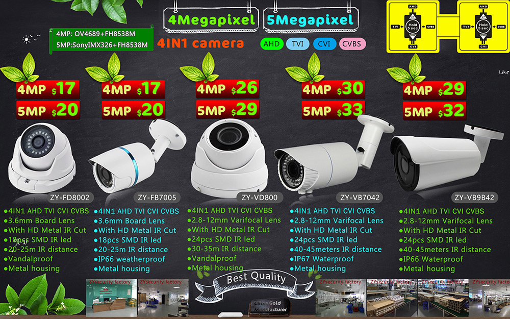 4Mpx 5Mpx 4In1 camera AHD TVI CVI CVBS new arrival