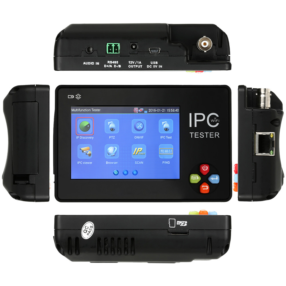 New 3.5 inch touch screen IP CCTV tester monitor ip camera analog camera testing 1080P ONVIF PTZ wifi 12V1A output
