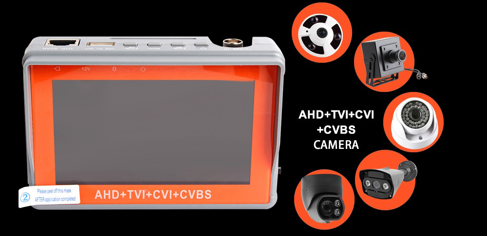 AHD CCTV Tester 4 in 1 for AHD TVI CVI CVBS Analog Camera Security Monitor 1080P with 4.3-inch LCD screen