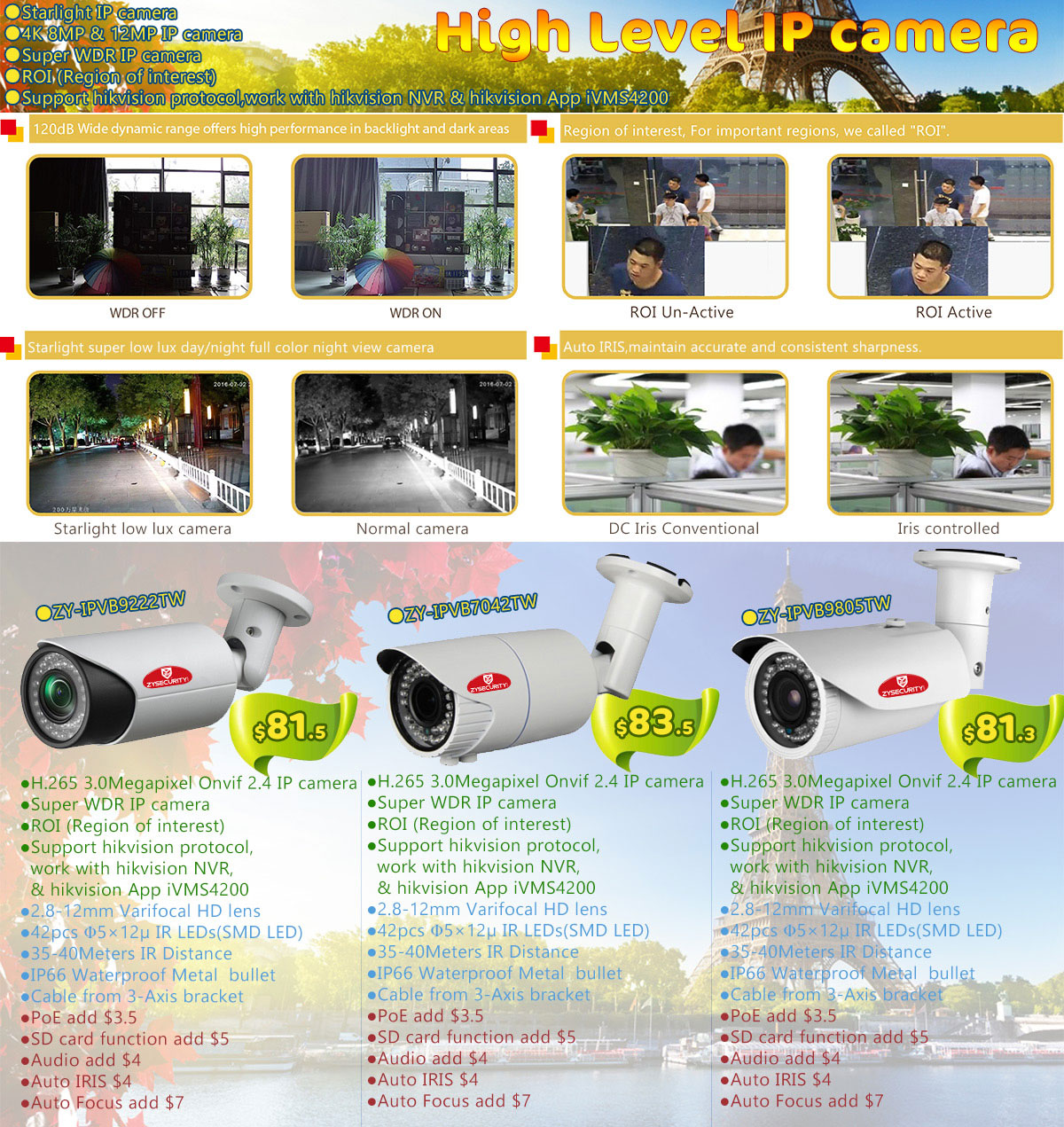 High level starlight WDR 4K Smart IP camera 3MP 4mp 5mp 8mp 12mp IP camera